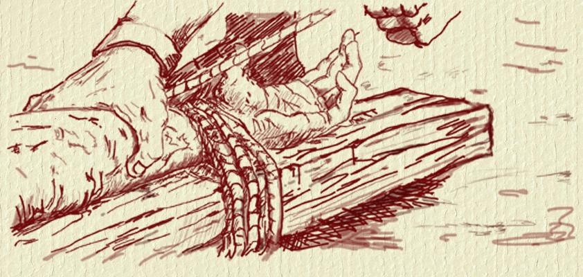 trói tay tội nhân vào cây gỗ trước khi đóng đinh