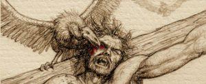 tử tội bị chim khoét thịt sống trên thập tự giá